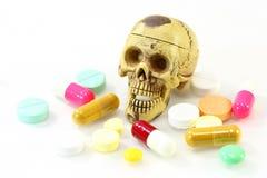 Skeleton with drug on white background Royalty Free Stock Photography