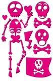 Skeleton emo icon set Stock Photos