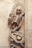 Skeleton on the entrrance of Church of Purgatory, Bitonto, Puglia, Italy Stock Image