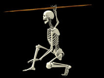 Skeleton on a Fighting Position. An illustration of a skeleton standing on a fighting pose, holding a spear and ready to attack Stock Photo