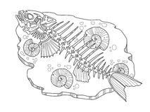 Skeleton of fish coloring book vector illustration. Lace pattern Royalty Free Stock Photography