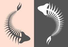 Skeleton fish. Illustration of skeleton fish silhouette Royalty Free Stock Photos