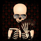 Skeleton gambler with poker cards Royalty Free Stock Photography
