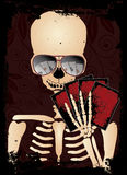 Skeleton gambler with sunglasses poker Royalty Free Stock Image