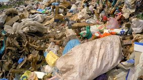 Skeleton Among Garbage At Dump In Ukraine stock footage