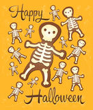 Skeleton ginger Halloween cookies for party Royalty Free Stock Image
