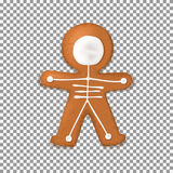 Skeleton gingerbread man cookies isolated on transparent backdro. Top view on realistic dessert with milk chocolate for halloween. Vector illustration Royalty Free Stock Photography