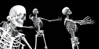 Skeleton Group 3. An x ray image of a group of skeletons. A suitable medical or Halloween based image Stock Photos