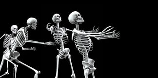 Skeleton Group 5. An x ray image of a group of skeletons. A suitable medical or Halloween based image Royalty Free Stock Image