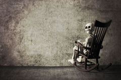 Skeleton in a grungy room Stock Image