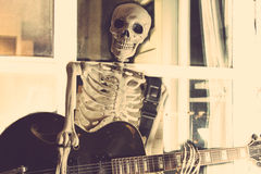 Skeleton With Guitar Stock Photography
