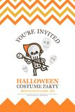 Skeleton halloween invitation card for costume night party cute Stock Images