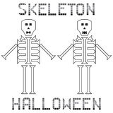 Skeleton halloween set text Royalty Free Stock Photos