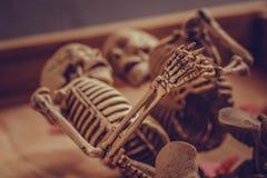 Skeleton haltene Hand für ewige Liebe Selektiver Fokus an Hand Lizenzfreie Stockbilder