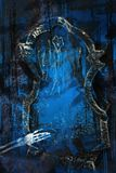 Skeleton Hand. From the grave. Spooky Halloween theme in blue and black grunge. (Focus on hand Vector Illustration