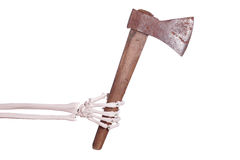 Skeleton hand with axe Royalty Free Stock Images