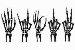 Skeleton hand gestures set. Collection of hand-drawn bones signs. Vector. Skeleton hand gestures set. Collection of hand-drawn bones signs. Vector illustration stock illustration