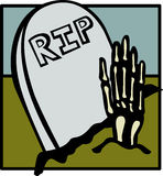 Skeleton hand getting out of tomb vector Stock Photography