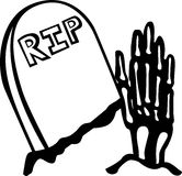 Skeleton hand and a tomb Royalty Free Stock Images
