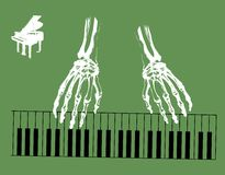 Skeleton hands. Abstract green background with white skeleton hands playing piano Royalty Free Stock Image
