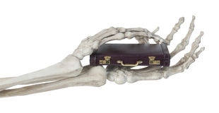 Skeleton Hands Holding Briefcase Royalty Free Stock Photo