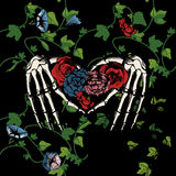 Skeleton hands making heart. Vector illustration of a skeleton hands making heart, surrounded and covered with plants and flowers on black background. Vintage Stock Image