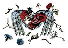 Skeleton hands making heart Stock Photography