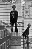 Skeleton hanging. For halloween. Black and white stock images