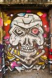 Skeleton Head Graffiti. VALPARAISO - NOVEMBER 07: Skeleton Head Graffiti in the districts of the protected UNESCO World Heritage Site of Valparaiso on November 7 royalty free stock images