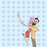 Skeleton Hipster Couple Taking Selfie Royalty Free Stock Image