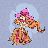 Skeleton Hipster Girl Fashionable Retro Style. Skeleton Hipster Girl Fashion Retro Style Flat Vector Illustration stock illustration