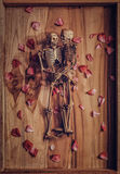 Skeleton holding hand for eternal love. Selective focus on hand Royalty Free Stock Photo