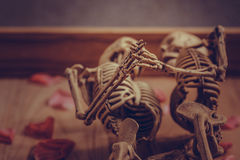Skeleton holding hand for eternal love. Selective focus on hand Stock Image