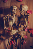 Skeleton holding hand for eternal love. Selective focus on hand Royalty Free Stock Image