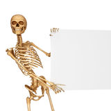 Skeleton holding a sign in a pose Royalty Free Stock Photography
