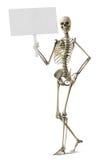 Skeleton Holdingzeichen Lizenzfreie Stockbilder