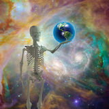 Skeleton holds earth. Before deep space Stock Photos