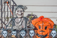 Skeleton with a Huge Grin. Skeleton with a few shreds of clothing needs a new hairdo royalty free stock photography
