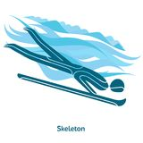 Winter games icon. Skeleton icon. Olympic species of events in 2018. Winter sports games icons,  pictograms for web, print and other projects. Vector Stock Image