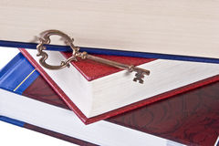 Skeleton Key on Books Stock Photo