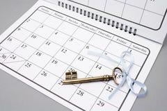 Skeleton Key on Calendar Stock Photo