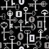 Skeleton Key-Lock Pattern_Gray. Seamless pattern of skeleton keys and locks in grays and black. See more key illustrations in my Portfolio vector illustration