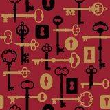 Skeleton Key-Lock Pattern_Red. A seamless 12 square vector pattern of skeleton keys and locks in red, gold and black stock illustration