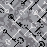 Skeleton Key Pattern_Black-Gray. A seamless 12 square repeating vector pattern of skeleton keys in grays and black Royalty Free Stock Photo