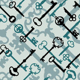 Skeleton Key Pattern_Blue-Green Royalty Free Stock Photos