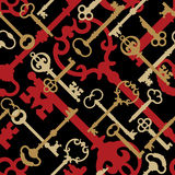 Skeleton Key Pattern_Gold-Black-Red. A seamless 12 square repeating vector pattern of skeleton keys in golds, red and black Stock Images