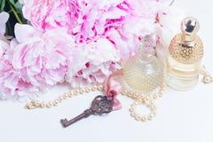Skeleton key with peony flowers Royalty Free Stock Photo