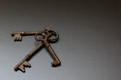 Skeleton key trio. Group of skeleton keys on a black background Stock Photography