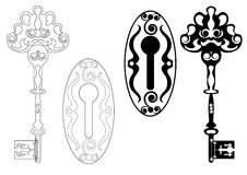 Skeleton key vector. Skeleton key and keyhole illustration Royalty Free Stock Photo