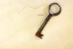 Skeleton key on vintage hotel envelope Stock Images